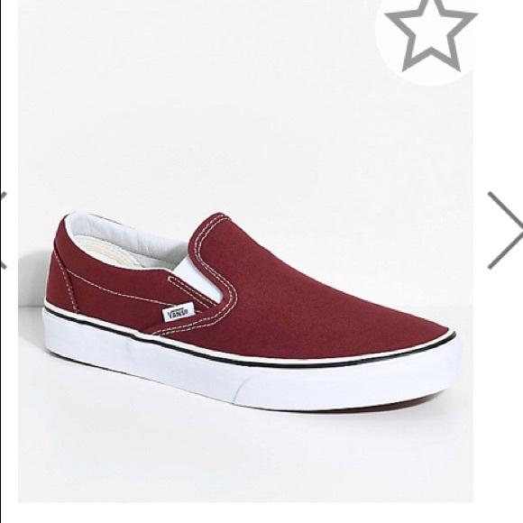 dark red vans shoes